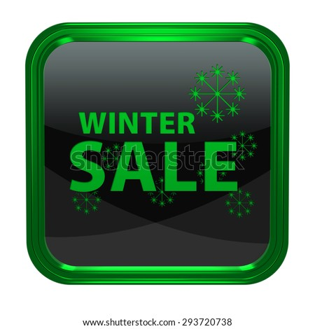 Winter sale square icon on white background