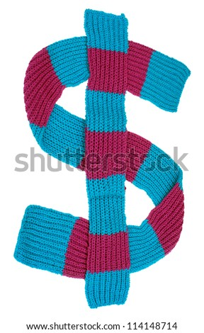winter scarf in the form of a dollar sign