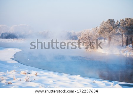 Winter scene during a heavy cold. River, fog, trees in white