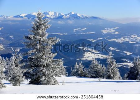Winter scene in Slovakia, view from Kubinska Hola Ski Park on High Tatras - stock photo