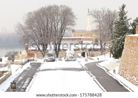 Winter scene in the park at Kalemegdan fortress in Belgrade, Serbia - stock photo
