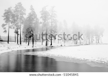Winter scene of a lake and forest, fog - stock photo