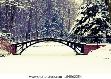 Winter scene - Old bridge in winter snowy park - stock photo