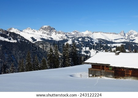 Winter scene on the Wispile, place near Gstaad