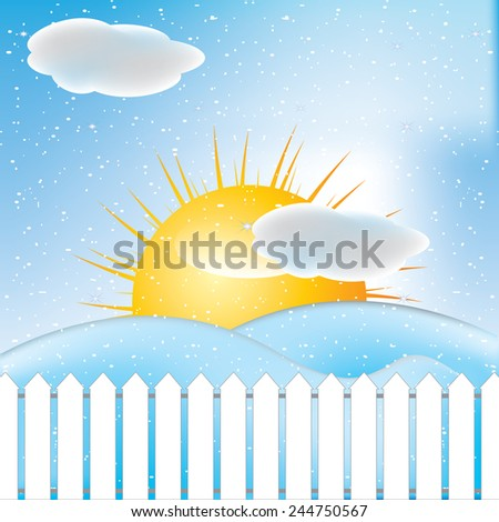 winter scene, white snow and blue sky.