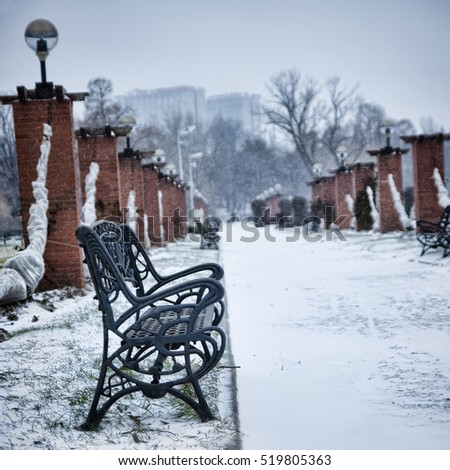 winter scene with bench and snow in park