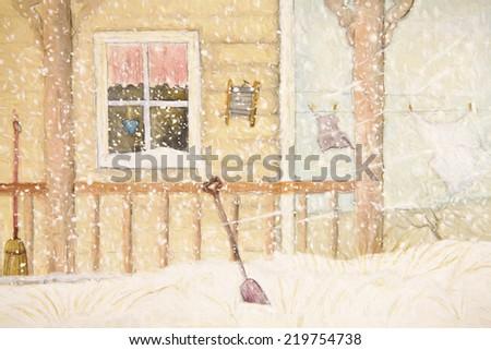 Winter scene with farmhouse/ digital watercolor - stock photo