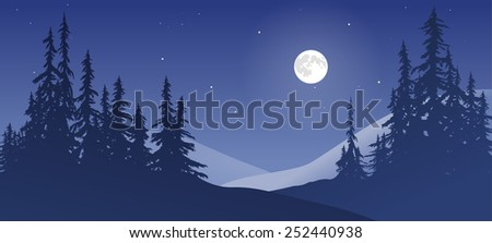 Winter scene with snow and moon. - stock photo