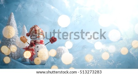 Winter scene with snowman on abstract background