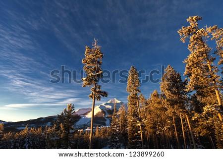 Winter scenery, at sunrise in Big Sky, Montana, near Yellowstone National Park - stock photo
