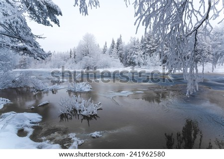 Winter scenery from Finnish nature. Koiteli, Kiiminki, Oulu, Finland. Landscape photo from frosty winter paradise. Travel photo. Background for your desktop or to posters. - stock photo