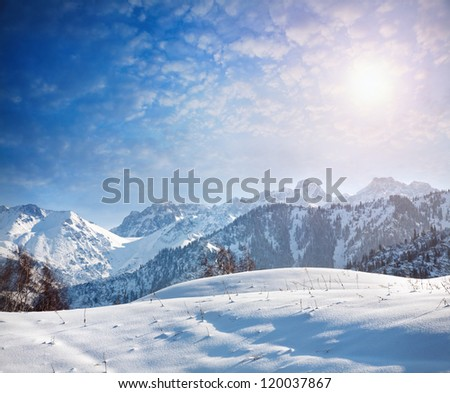 Winter scenic of the mountains in Kazakhstan