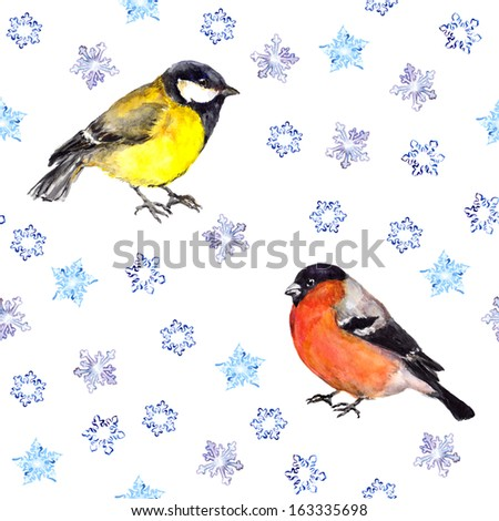 Winter seamless background with snowflakes and birds - tit and bullfinch - stock photo