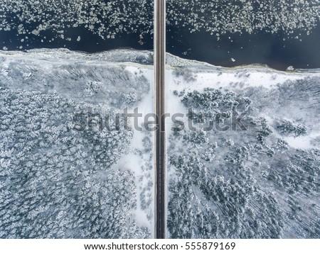 Straight Line Borders Clip Art : Winter season aerial top down view stock photo royalty free