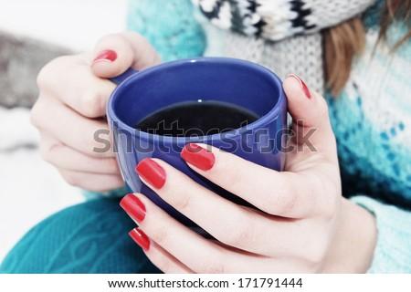 Winter season or Hot drink - stock photo