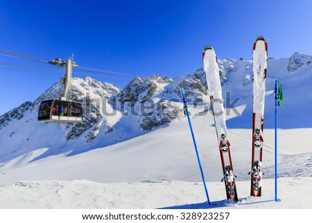 Winter season, ski equipments on ski run