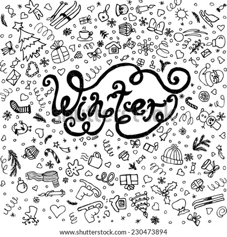 Winter set. Beautiful sketch hand drawn. Winters doodle for web pages, xmas invitations and postcards.  Raster version - stock photo