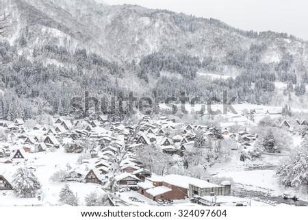 Winter Shirakawago with Snowfall Gifu Chubu Japan - stock photo
