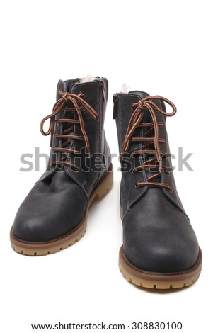 Winter shoes on white background  - stock photo
