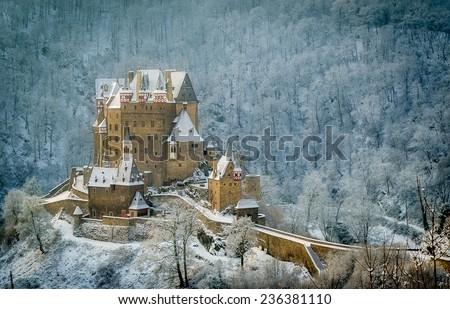 Winter shot of German castle Burg Eltz - stock photo