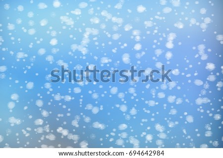 Winter simple Christmas blue background with snow for design Wallpaper banner