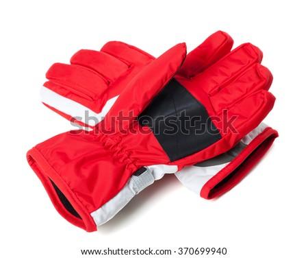 Winter ski gloves isolated on white background - stock photo