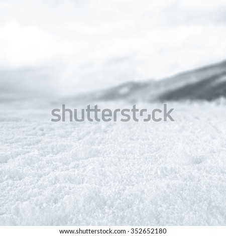winter snow and sky of white color  - stock photo