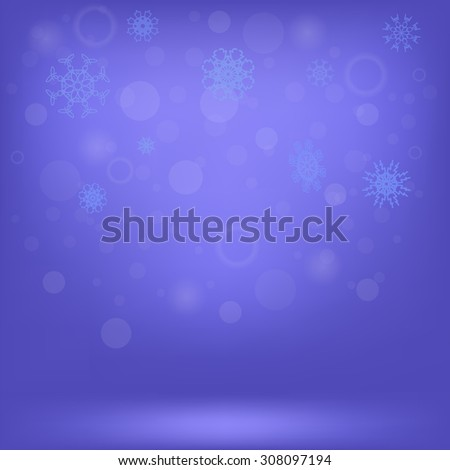 Winter Snow Background. Snow Flakes on Blue Sky Background - stock photo