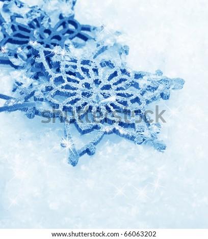 Winter Snow Background.Snowflakes - stock photo