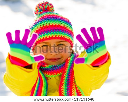 Winter, snow, fun - kid winter playing - stock photo