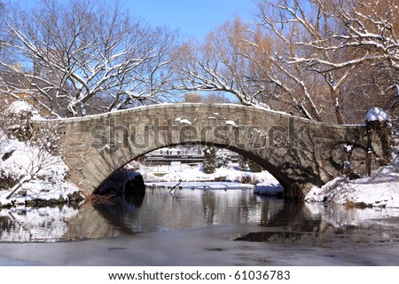 Winter Snow in Central Park, New York City - stock photo