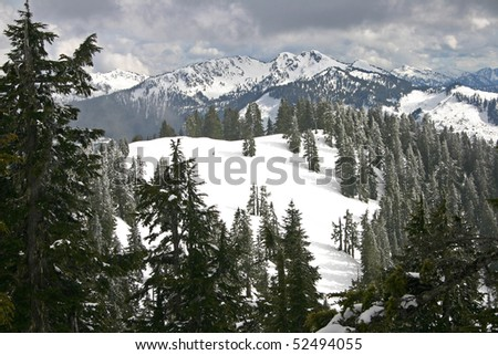 Winter snow mountain view. - stock photo