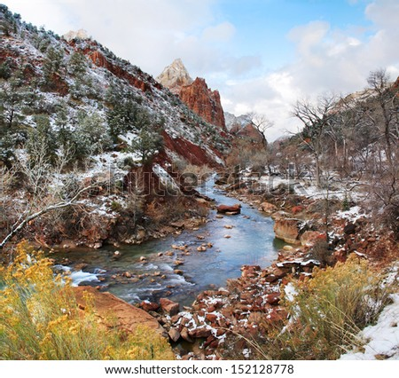 Winter Snow On The Banks Of The Virgin River, Zion National Park, Utah, USA - stock photo