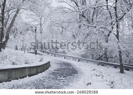 Winter snow scene in New York City - stock photo