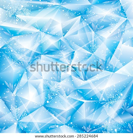 Winter snowflakes abstract Christmas background. - stock photo