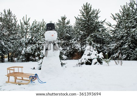 winter, snowman and sledge  - stock photo