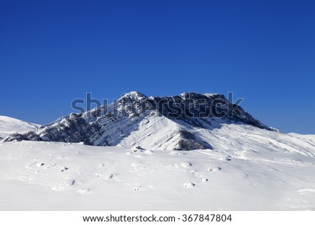 Winter snowy mountains. Greater Caucasus, Mount Shahdagh. Qusar rayon of Azerbaijan.  - stock photo
