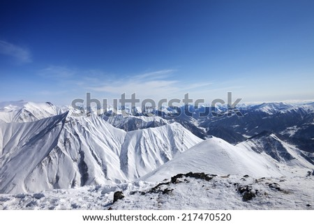 Winter snowy mountains. Panoramic view. Caucasus Mountains, Georgia, ski resort Gudauri.  - stock photo