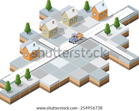 Winter snowy village with houses and roads - stock photo