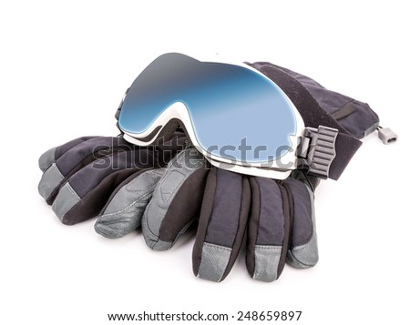 Winter sport glasses and gloves