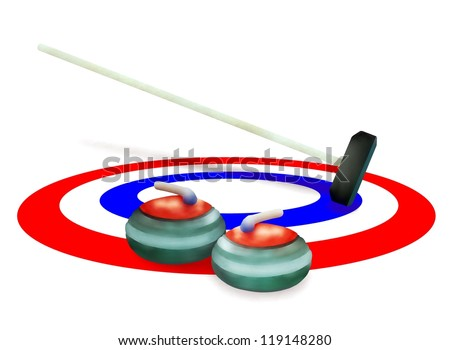 Winter Sport : Hand Drawing of Curling Rocks and Broom in The Ice Rings in Curling Sport Isolated on White Background - stock photo