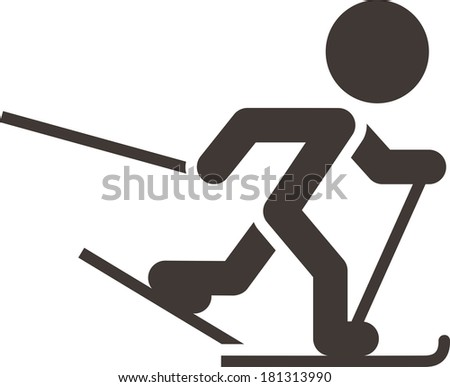 Winter sport icon - Cross-country skiing icon - stock photo