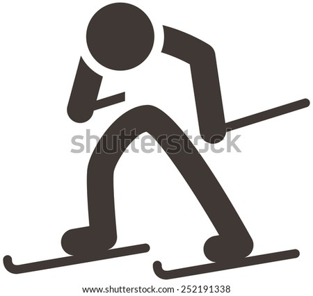 Winter sport icon set - Cross-country skiing icon - stock photo