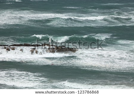 Winter storm of Mediterranean sea - stock photo