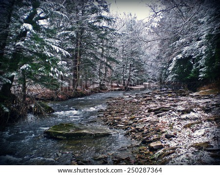 Winter Stream in Pennsylvania - stock photo