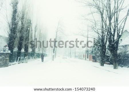 winter street - stock photo
