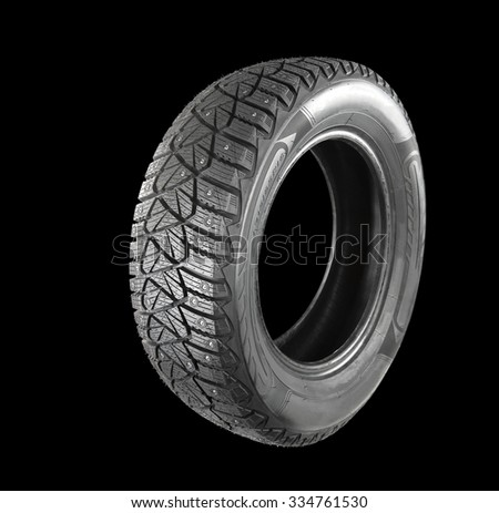Winter, studded tire. isolated - stock photo