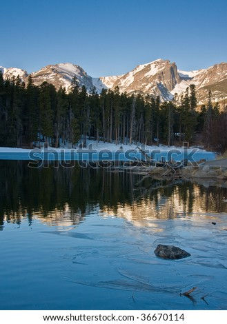 Winter sunrise on mountains - stock photo