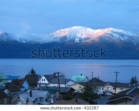 Winter sunrise on Wrangell island, Alaska - stock photo