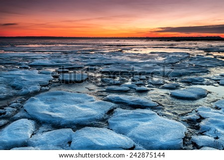 Winter sunset at Boundary Bay, British Columbia, Canada - stock photo